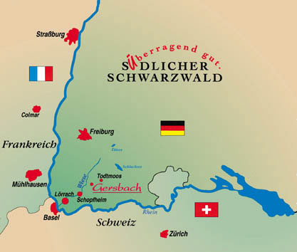 Lage Anfahrt Anreise Ferienwohnungen Sudterrasse Im Schwarzwald